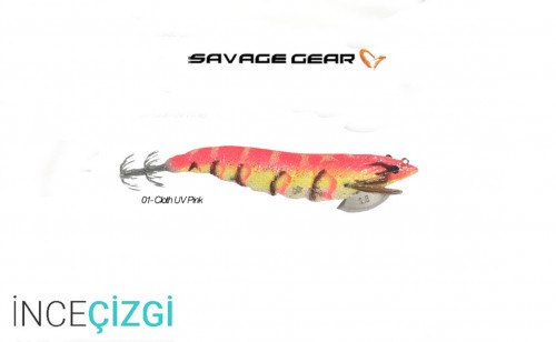 Savagear 3D Shrimp Egi Jig 9 cm 23 gr Suni Yem - Cloth UV Pink
