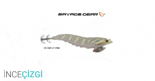 Savagear 3D Shrimp Egi Jig 9 cm 23 gr Suni Yem - Cloth UV White