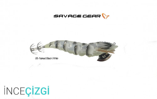 Savagear 3D Shrimp Egi Jig 9 cm 23 gr Suni Yem - Naked Black White
