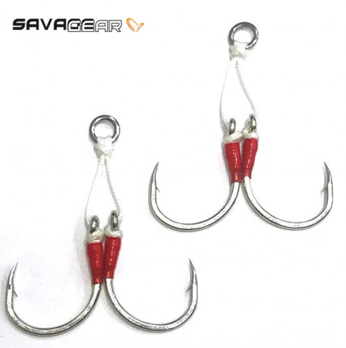 Savagear Eyed Assist Hook 2 Adet - 2/0 Double 150lbs